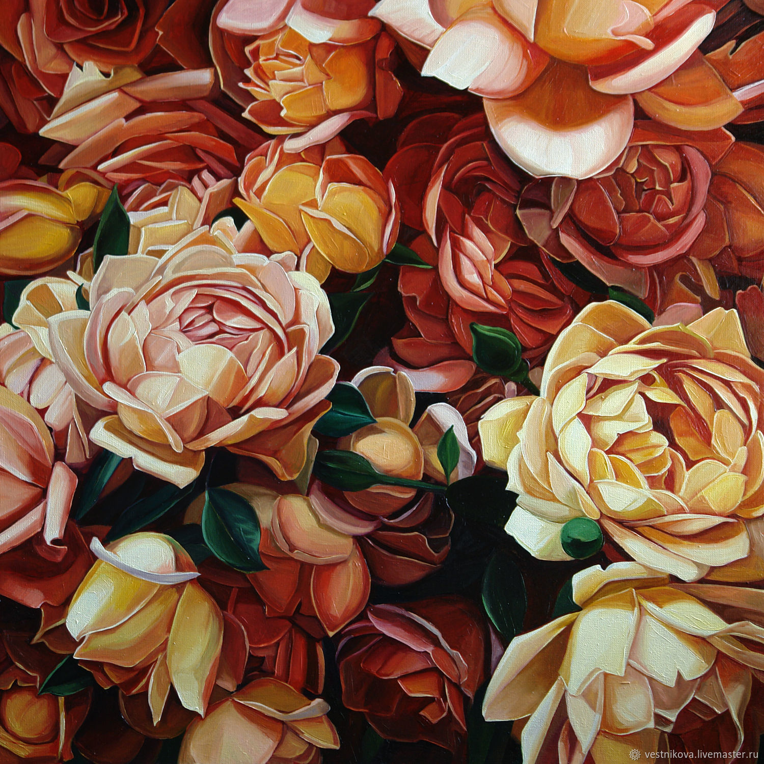 Painting 'Tea roses' oil on canvas 60h60cm, Pictures, Moscow,  Фото №1