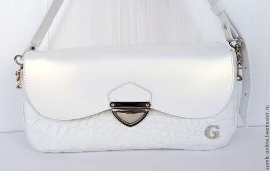 """Женские сумки ручной работы. Ярмарка Мастеров - ручная работа. Купить Кожаная белая сумка """"Cold kiss"""". Handmade. Белый"""