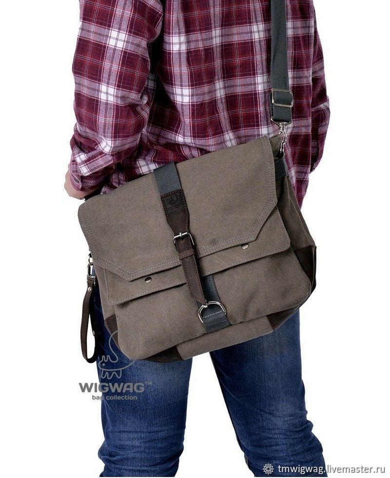 Мужская сумка из канваса и натуральной кожи, сумка через плечо, Мужская сумка, Симферополь,  Фото №1