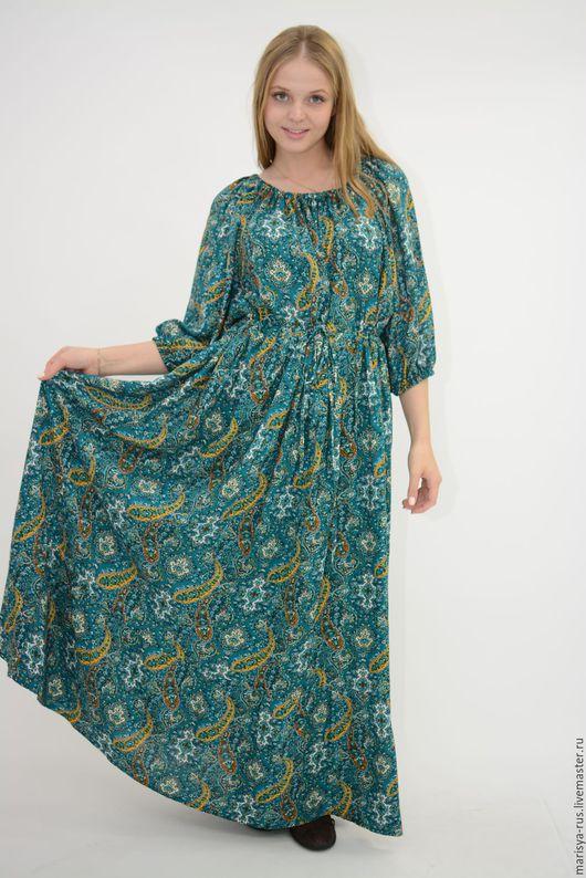 """Платья ручной работы. Ярмарка Мастеров - ручная работа. Купить Платье """"Крестьянка"""". Handmade. Тёмно-зелёный, легкое платье"""