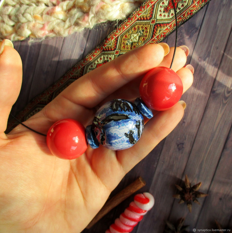 Бусы крупные Сине-красные