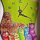 """Часы для дома ручной работы. Ярмарка Мастеров - ручная работа. Купить Настенные часы """"Семь пятниц"""". Handmade. Салатовый, котики"""