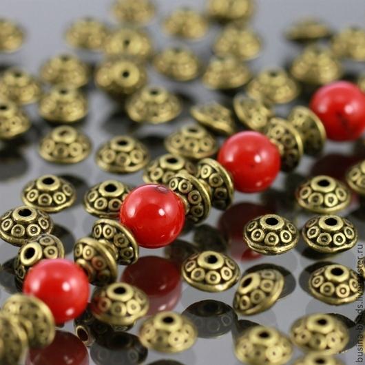 Бусины металлические литые биконической формы Юла в тибетском стиле с покрытием античная бронза для сборки украшений комплектами по 10 бусин