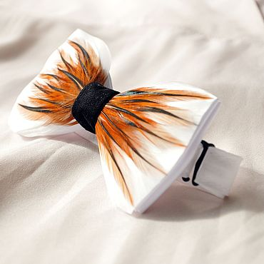 Accessories handmade. Livemaster - original item Bow tie with rooster feathers. Handmade.