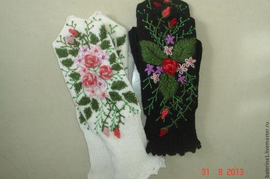 """Варежки, митенки, перчатки ручной работы. Ярмарка Мастеров - ручная работа. Купить варежки""""цветочная поляна""""с вышивкой. Handmade. Цветочный, ангора"""