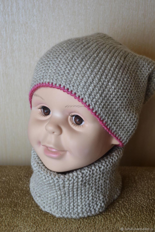 Комплект для девочки пальто, шапочка и снуд