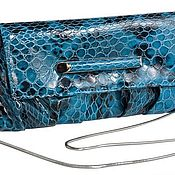 Винтаж handmade. Livemaster - original item Turquoise clutch bag with reptile print. ELEGANZZA. Handmade.
