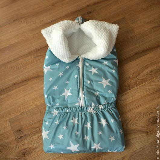 Для новорожденных, ручной работы. Ярмарка Мастеров - ручная работа. Купить Одеяло трансформер. Handmade. Морская волна, одеяло лоскутное