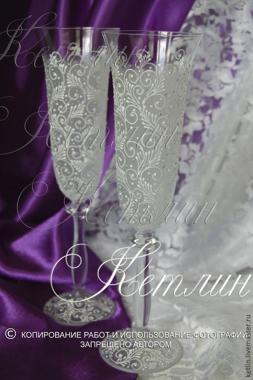 """Свадебные аксессуары ручной работы. Ярмарка Мастеров - ручная работа. Купить Свадебные бокалы """" Кружева """". Handmade. Белый"""