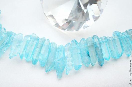 Для украшений ручной работы. Ярмарка Мастеров - ручная работа. Купить Кварц кристалл голубой от 40х11 до 16х6мм. Handmade. Бирюзовый
