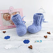 Работы для детей, handmade. Livemaster - original item booties knitted uggs booties for a boy baby booties boots blue. Handmade.
