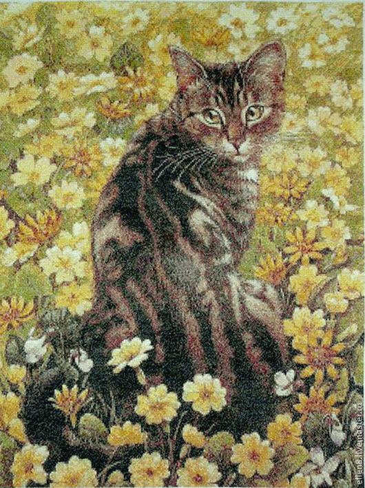 Животные ручной работы. Ярмарка Мастеров - ручная работа. Купить Вышивка крестом Котик. Handmade. Картина с котом
