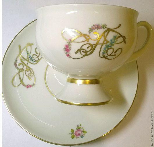 Персональные подарки ручной работы. Ярмарка Мастеров - ручная работа. Купить Чашка чайная с монограммой. Handmade. Роспись фарфора, монограмма
