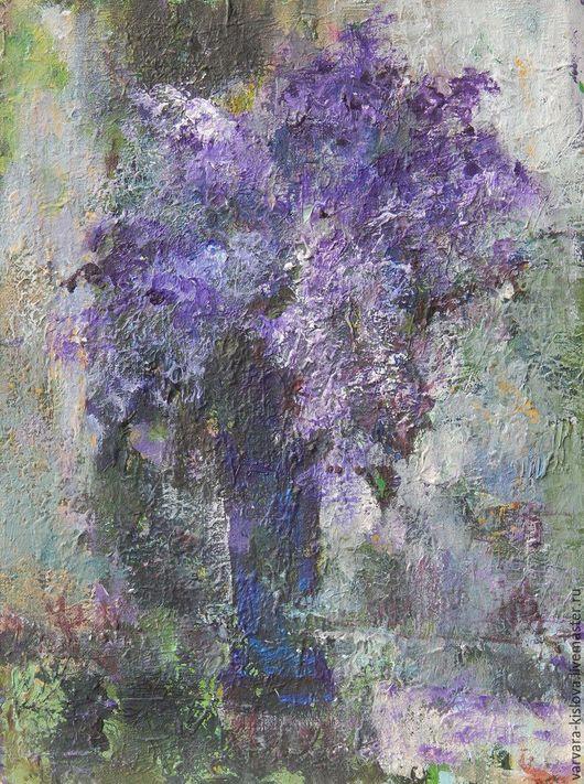 """Картины цветов ручной работы. Ярмарка Мастеров - ручная работа. Купить """"Сиреневый вечер"""". Handmade. Сирень, цветы, картина с цветами"""