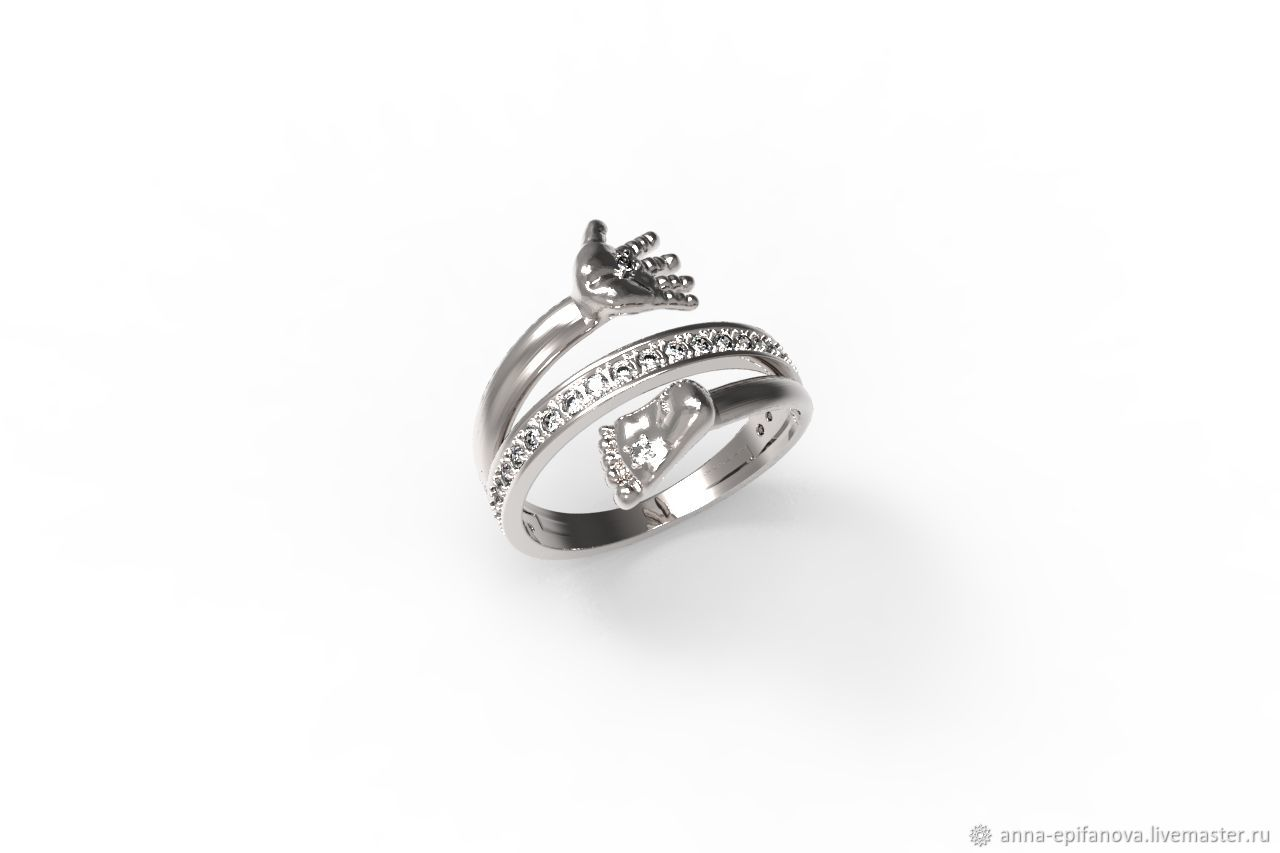 Ring with a child's hand and foot, 925 silver (K25), Rings, Chelyabinsk,  Фото №1