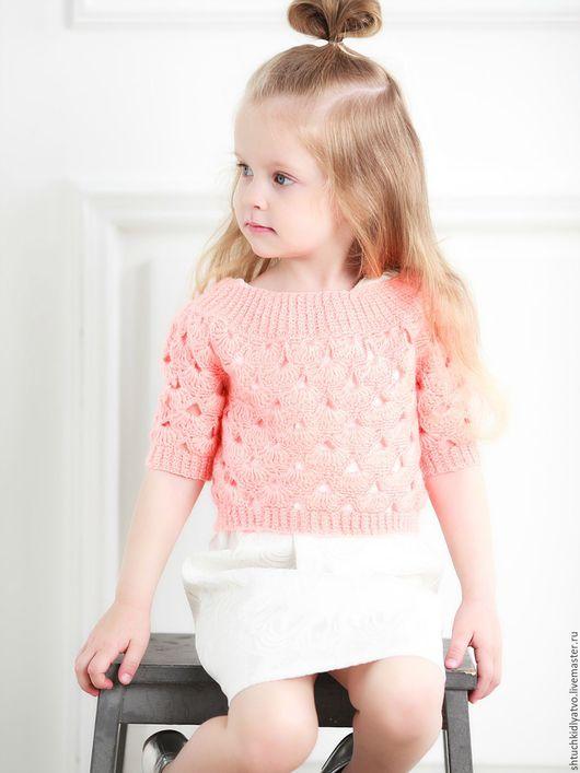 Одежда для девочек, ручной работы. Ярмарка Мастеров - ручная работа. Купить Вязаный пуловер персикового цвета. Handmade. Комбинированный