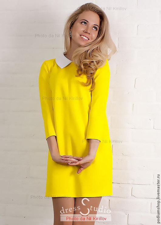 Платье лимонное с белым воротничком