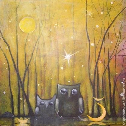Пейзаж ручной работы. Ярмарка Мастеров - ручная работа Картина Птицы  первая  звезда  лес и луна  утро   пейзаж  акрил дом. Handmade.