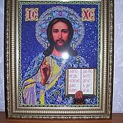 Картины и панно ручной работы. Ярмарка Мастеров - ручная работа Бисерная икона Иисус Христос. Handmade.