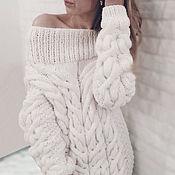 Одежда handmade. Livemaster - original item White long sweater female knitted. Handmade.
