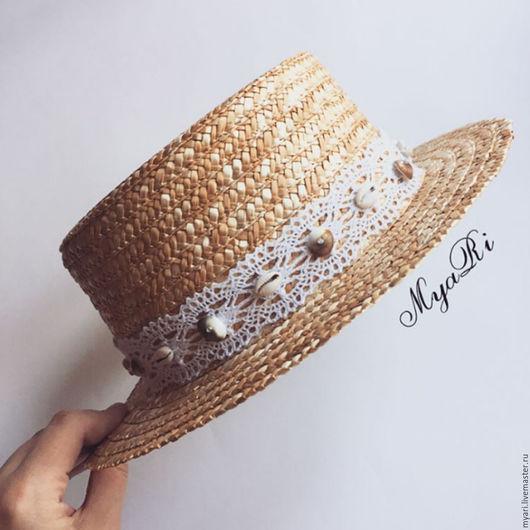 """Шляпы ручной работы. Ярмарка Мастеров - ручная работа. Купить Шляпка """"Канотье"""" кружево и ракушки. Handmade. Цветочный, канотье"""