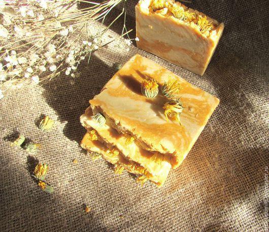 Мыло ручной работы. Ярмарка Мастеров - ручная работа. Купить Солнечная календула натуральное мыло с нуля (осень солнце облепиха). Handmade.