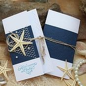 """Приглашения ручной работы. Ярмарка Мастеров - ручная работа Приглашение""""Синее море""""ручной работы морские пригласительные. Handmade."""