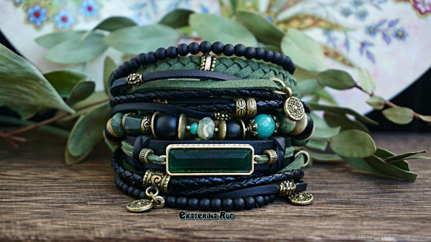 Multi-layer bracelet made of stones in the BOHO style ' Laurel', Bead bracelet, Moscow,  Фото №1