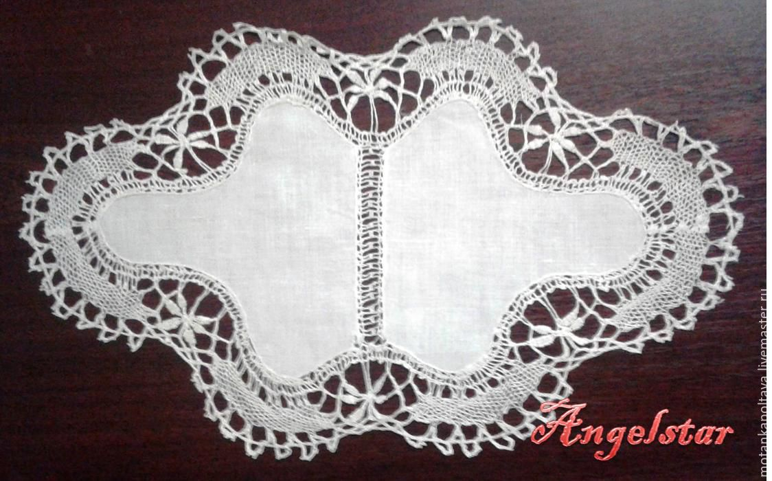 Figured napkin made of thin linen cloth, tied with delicate lace, Swipe, Poltava,  Фото №1