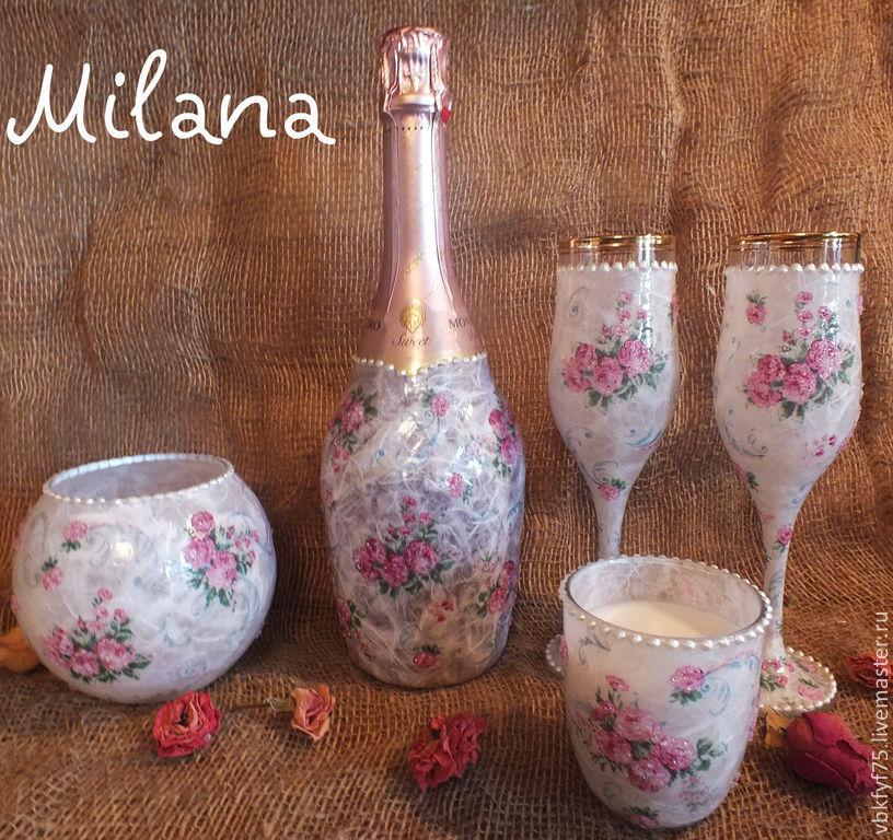 Бутылка шампанского декупаж свадьба
