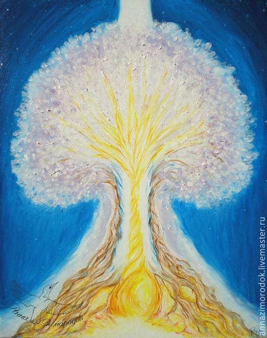 """Фэнтези ручной работы. Ярмарка Мастеров - ручная работа. Купить Яркая картина для детской """"Исцеление Родового Дерева"""" синий небо огонь. Handmade."""