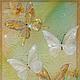 Картины цветов ручной работы. Ярмарка Мастеров - ручная работа. Купить Золотые бабочки жаркого лета. Handmade. Роспись на шёлке