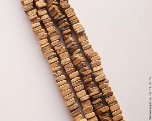 Для украшений ручной работы. Ярмарка Мастеров - ручная работа. Купить Бусины квадратные, кокос Кейши, отрезок нити - 10см. Handmade.