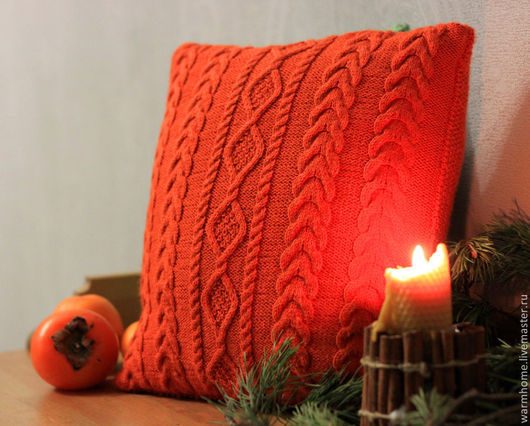 """Текстиль, ковры ручной работы. Ярмарка Мастеров - ручная работа. Купить Подушка """"Оrange"""". Handmade. Рыжий, подушка на диван"""