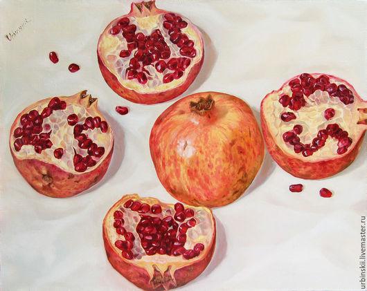 Натюрморт ручной работы. Ярмарка Мастеров - ручная работа. Купить Три граната. Handmade. Бордовый, фрукты, современная живопись, гиперреализм