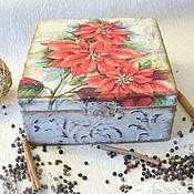 """Для дома и интерьера ручной работы. Ярмарка Мастеров - ручная работа Шкатулка для чая """"Пуансеттия"""". Handmade."""