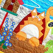 Для дома и интерьера ручной работы. Ярмарка Мастеров - ручная работа лоскутное одеяло детское  РЫЖИЙ КОТ МУР  лоскутное покрывало для детей. Handmade.