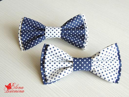 Галстуки, бабочки ручной работы. Ярмарка Мастеров - ручная работа. Купить Бабочка галстук темно-синяя с белым в горошек, хлопок. Handmade.