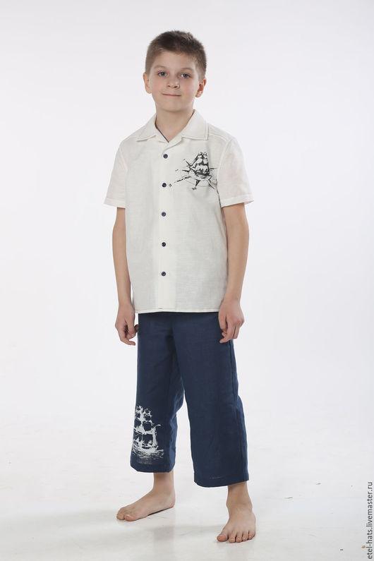 """Для подростков, ручной работы. Ярмарка Мастеров - ручная работа. Купить Рубашка для мальчика """"Принт"""". Handmade. Белый, рубашка для мальчика"""