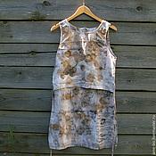 Одежда ручной работы. Ярмарка Мастеров - ручная работа Топ-туника лён, эко принт. Handmade.