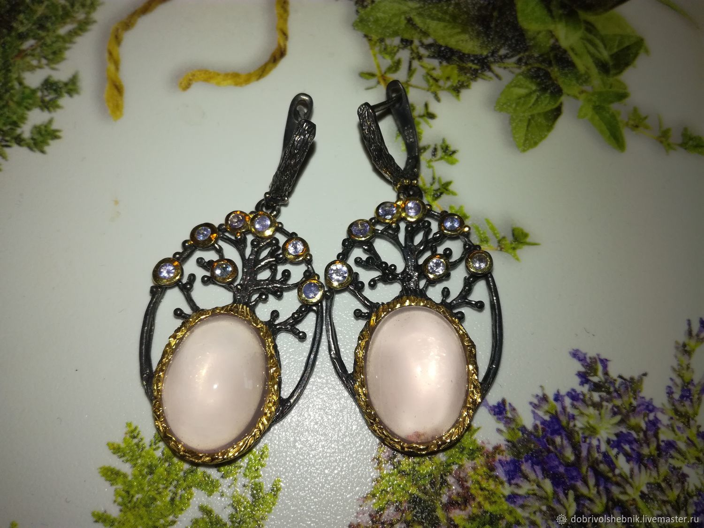 Tree of life earrings with rose quartz and tanzanites, Earrings, Novaya Usman,  Фото №1