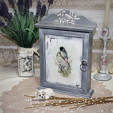 For home and interior handmade. Livemaster - original item Key holder for wall with door, shabby chic Spring and the birds. Handmade.