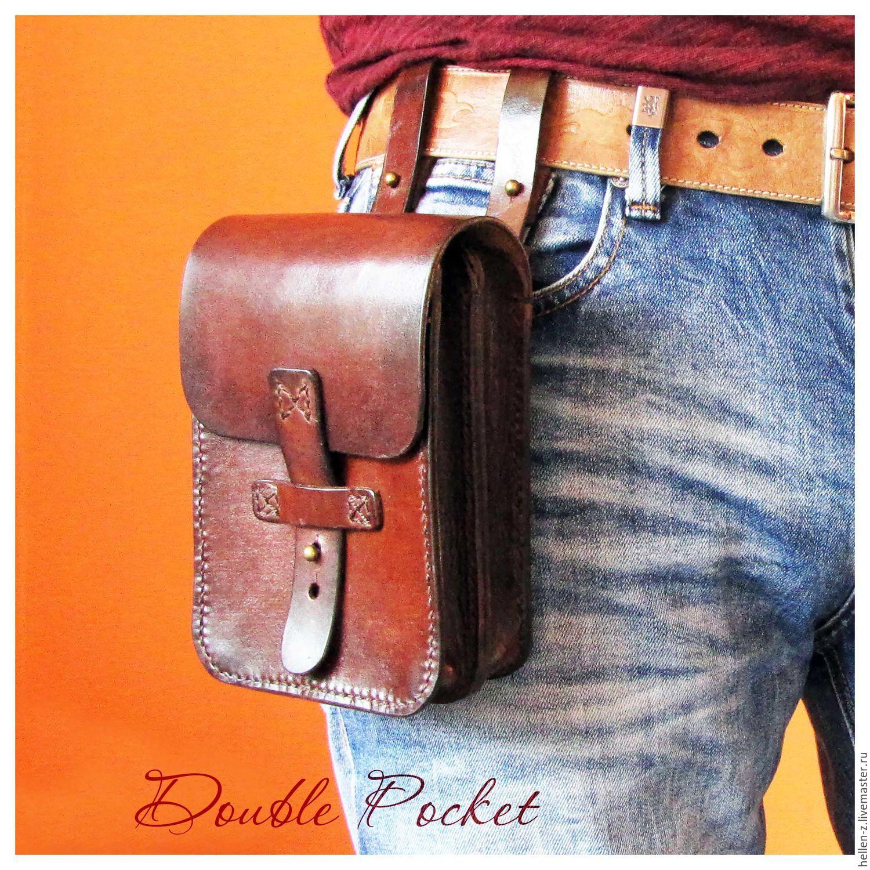 Bag on belt 'Double Pocket' genuine leather, Waist Bag, Stavropol,  Фото №1