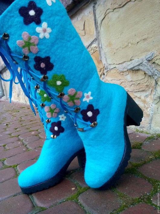"""Обувь ручной работы. Ярмарка Мастеров - ручная работа. Купить сапожки из шерсти """"Веночек"""". Handmade. Бирюзовый, цветочный, сапоги"""