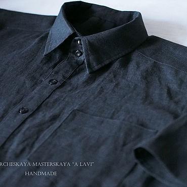 Одежда ручной работы. Ярмарка Мастеров - ручная работа Рубашки: Мужская рубашка из льна Чёрный цвет. Handmade.