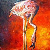 Картины и панно handmade. Livemaster - original item Oil painting - Flamingo. Handmade.