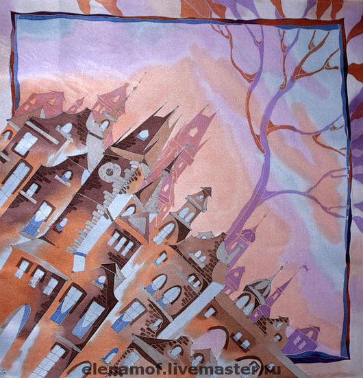 Шали, палантины ручной работы. Ярмарка Мастеров - ручная работа. Купить Платок Шоколадный город. Handmade. Платок, шелковый шарф