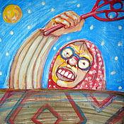 Картины и панно ручной работы. Ярмарка Мастеров - ручная работа картина Баба и ковёр. Handmade.