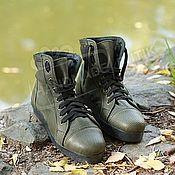 Обувь ручной работы handmade. Livemaster - original item discount! sneakers high perforated leather khaki. Handmade.