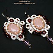 Украшения handmade. Livemaster - original item Soutache earrings Soft flame with rose quartz white red. Handmade.